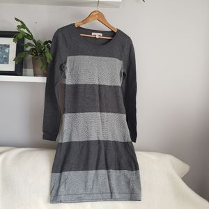 Banana Republic Grey Stripe Sweater Dress S